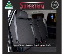 Seat Covers REAR Full-back (With Armrest Cover) Snug Fit for Toyota Prado 150 series (Nov09 - Now) , Charcoal black, 100% Waterproof Premium quality Neoprene (Wetsuit), UV Treated