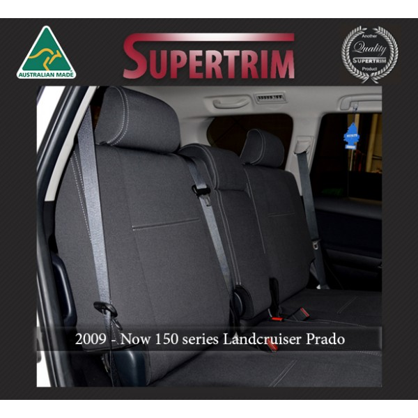 Seat Covers REAR Full-back (With Armrest Cover) Snug Fit for Toyota Prado  150 series (Nov09 - Now) , Charcoal black, 100% Waterproof Premium quality