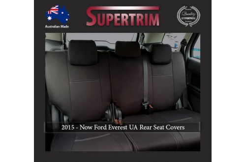 Ford Everest UA (Oct 2015 - Now) REAR / 2nd Row Full-Back Seat Covers, Snug Fit, Premium  Neoprene (Automotive-grade) 100% Waterproof